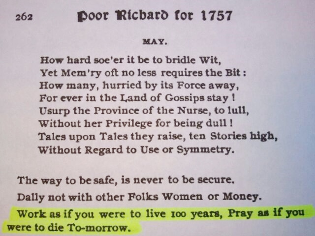 The quote found in Poor Richard's Almanac, May 1757