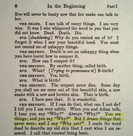 Excerpt from Part I, Act I of George Bernard Shaw's Play, Back to Methuselah, Showing He is the Correct Author