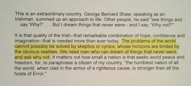The Quote Found in the Transcript of John F. Kennedy's Speech to the Irish Parliament on June 28, 1963