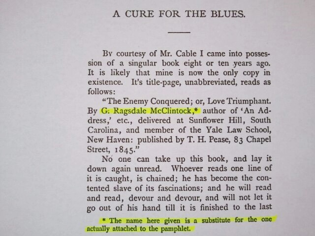 Disclaimer Stating the Name G. Ragsdale McClintock Is a Substitute for the Real Author's Name