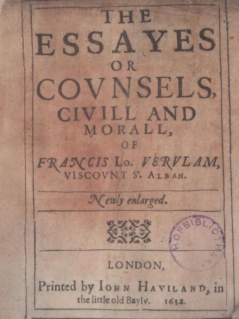 Title Page of the Book, The Essays or Counsels, Civil and Moral, by Francis Bacon