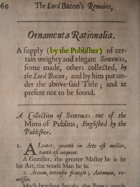 "The Publisher's Note Found in ""Ornamenta Rationalia"" Stating It Was Not Expressly Written by Francis Bacon"