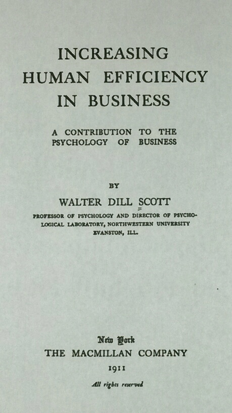 Title Page of Increasing Human Efficiency in Business Showing Walter Dill Scott as the Author