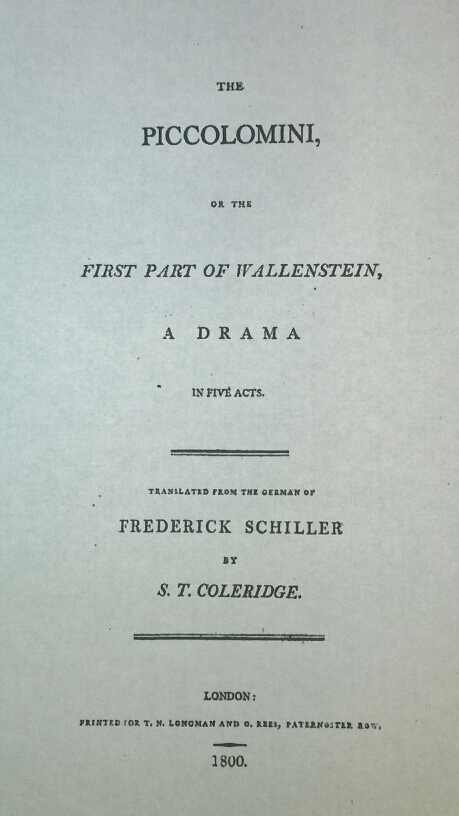 Title Page of the Play The Piccolomini by Friedrich Schiller Translated by Samuel Taylor Coleridge