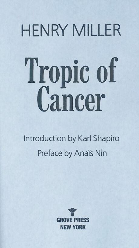 Title Page of 'Tropic of Cancer' by Henry Miller