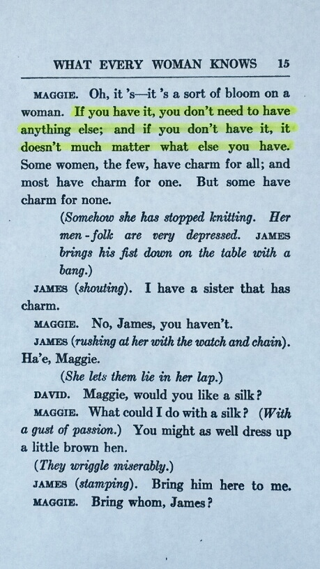 The Quote on Page 15 of 1918 Publication of J. M. Barrie's 'What Every Woman Knows'
