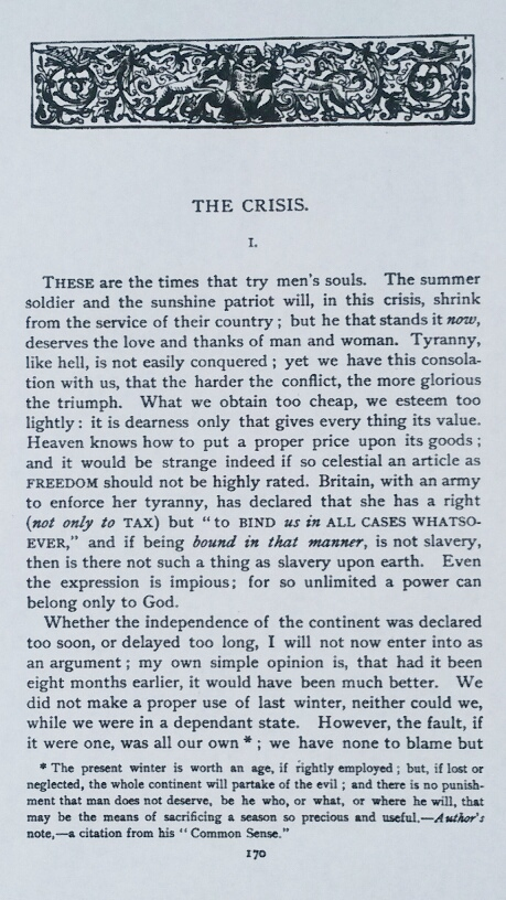 "The beginning of ""The Crisis, No. 1"" with the Famous First Sentence ""These are the times that try men's souls"""
