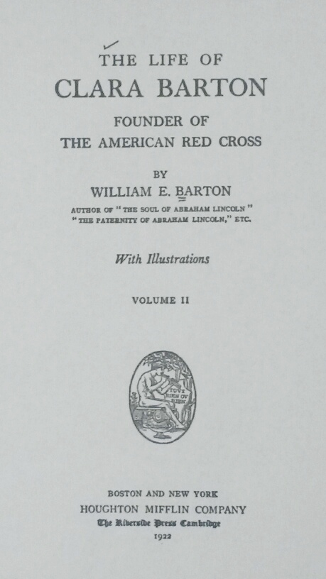 Title Page of 'The Life of Clara Barton' by William Eleazar Barton
