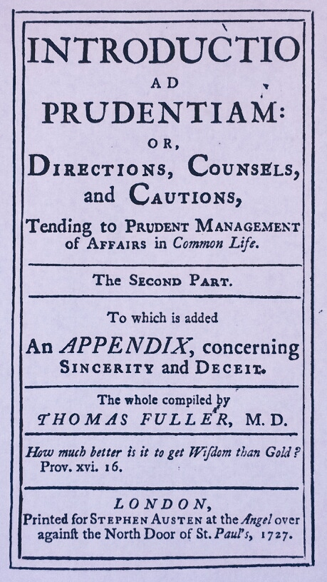 Title Page of 'Introductio ad Prudentiam: or, Directions, Counsels, and Cautions, Tending to Prudent Management of Affairs in Common Life, Part II'