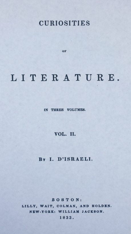 Title Page of 'Curiosities of Literature' by Isaac D'Israeli