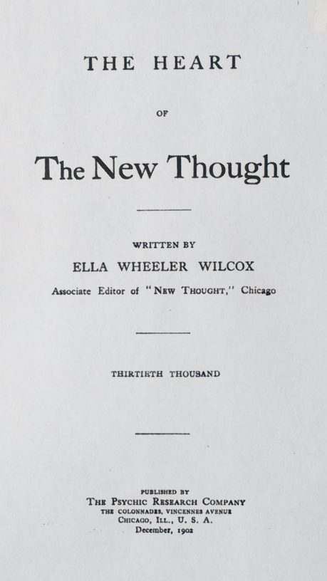 Title Page of 'The Heart of the New Thought' by Ella Wheeler Wilcox