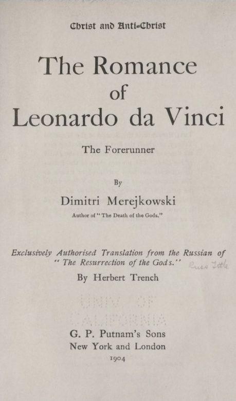 Title Page of 'The Romance of Leonardo da Vinci' by Dimitri Merejkowski