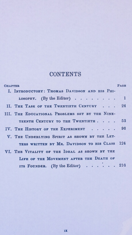 'The Education of the Wage-Earners' Table of Contents