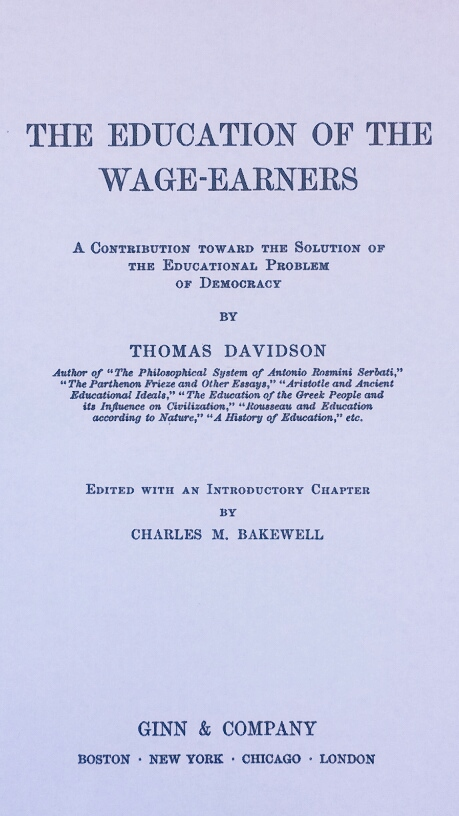 Title Page of 'The Education of the Wage-Earners' by Thomas Davidson